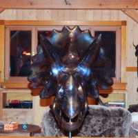 Metal Sculpture Raz Ashton-Triceratops - front view